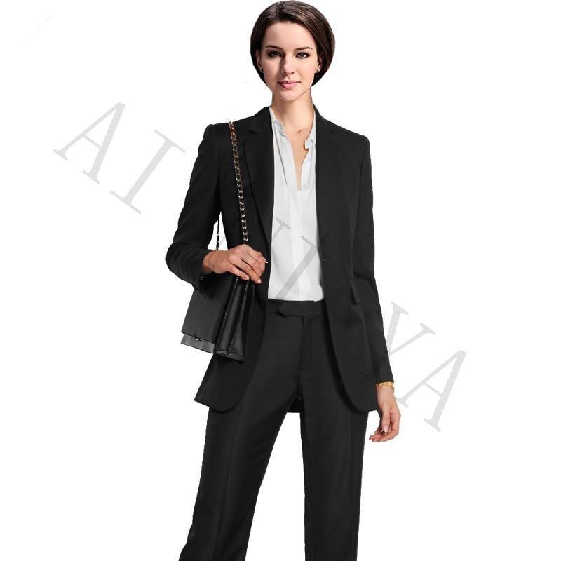 Jacket+Pants Womens Business Suits Black Single Breasted Female Office Uniform Formal Ladies Trouser Suit Women Tuxedo Suit