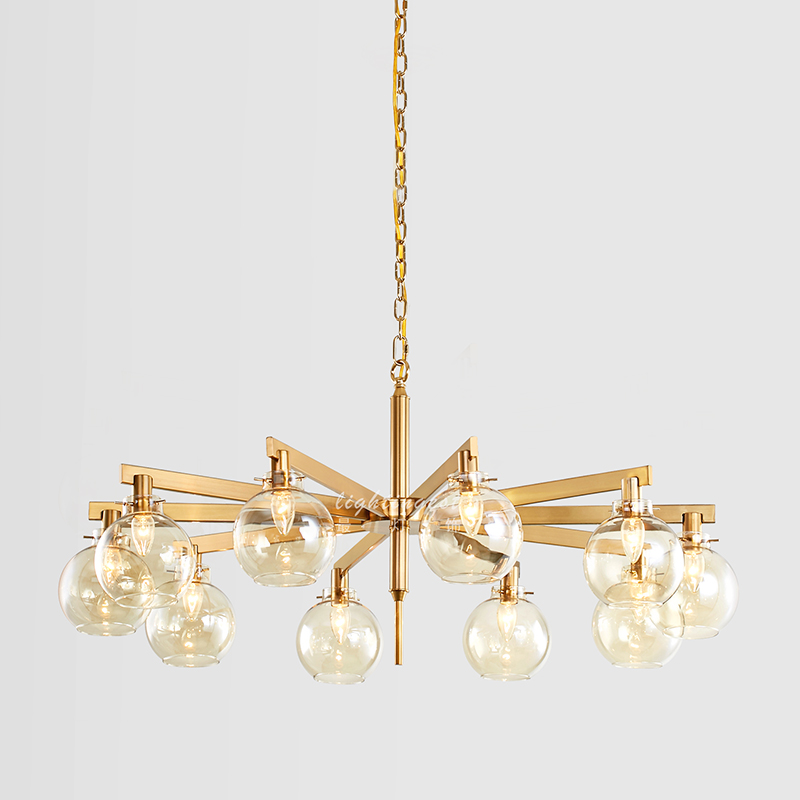 Modern Creative Metal Glass Ball Design For The Villa Room Led Pendant Lamp gold Hanging Lights