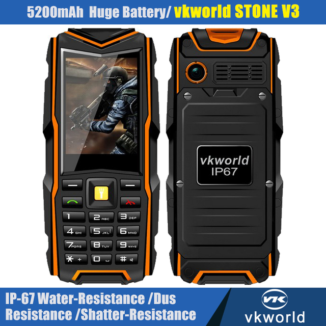VKWorld V3 Stone V3 2.4'' IP67 Dustproof Shockproof  Waterproof  Phone Dual Sim Card 5200Mah outdoor Cell phone with Gift P153