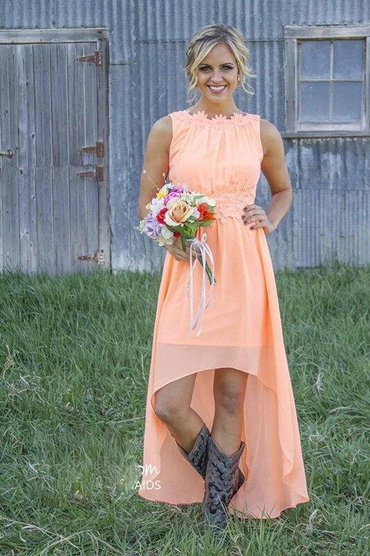 Hi Low 2019   Bridesmaid     Dresses   For Women A-line Chiffon Lace Appliques Long Cheap Under 50 Wedding Party   Dresses