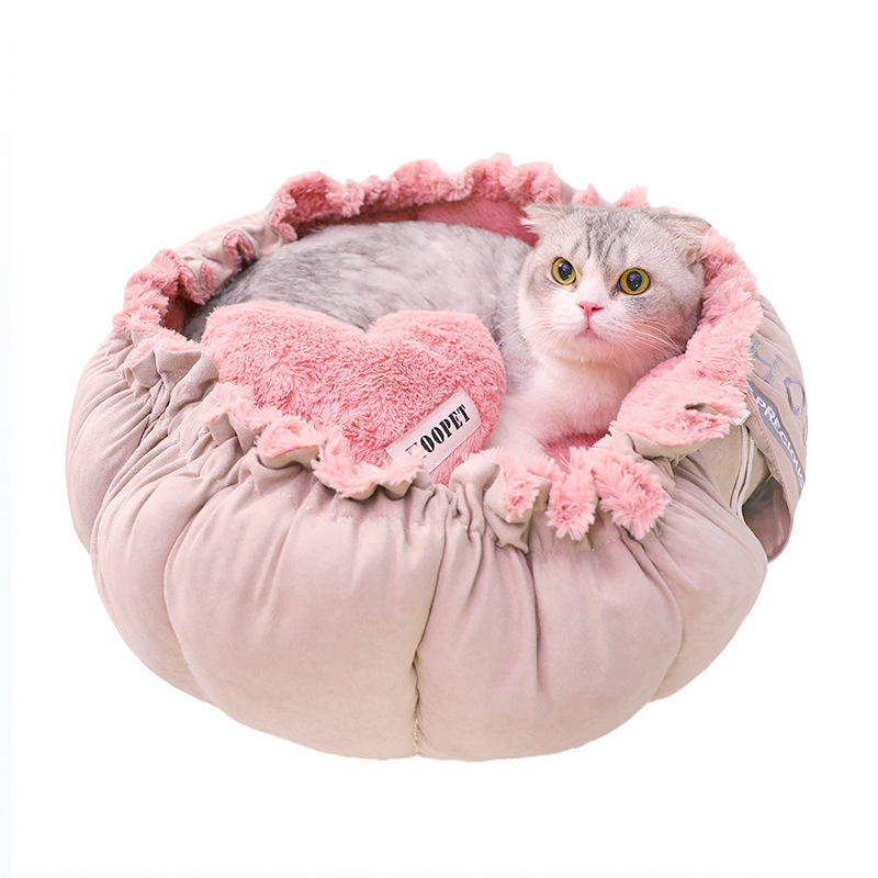 2019 New Dual purpose kennel Easy to store Four seasons universal small dog cat pad cute lace cat litter cat supplies pet L285 in Cat Beds Mats from Home Garden