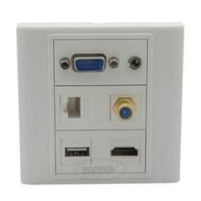 Vga, hdmi 3.5mm audio, USB, RJ45, F tête TV plaque murale avec retour femelle à femelle connecteur support client conception