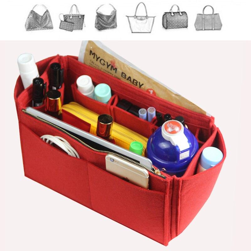 Fits[Neverfull MM PM GM Speedy]Felt Tote Organizer W/Milk Water Bottle Holder Purse Insert Bag In Bag Cosmetic Makeup Diaperbag