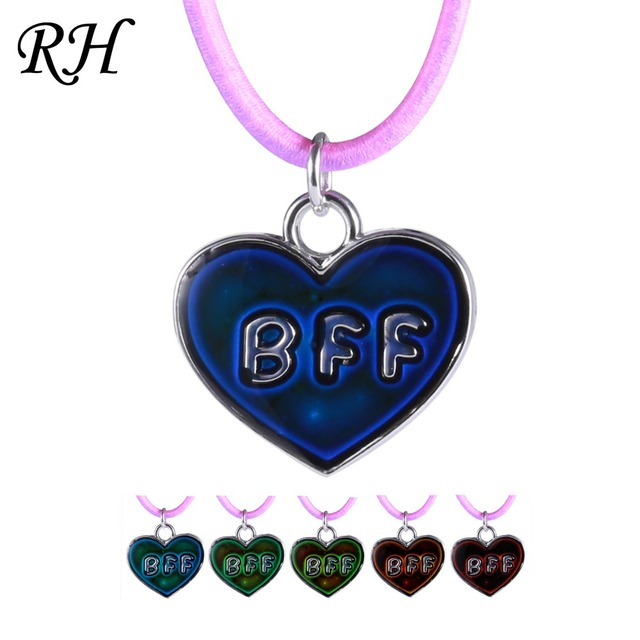 bff best friend forever mood changing necklace pendant heart