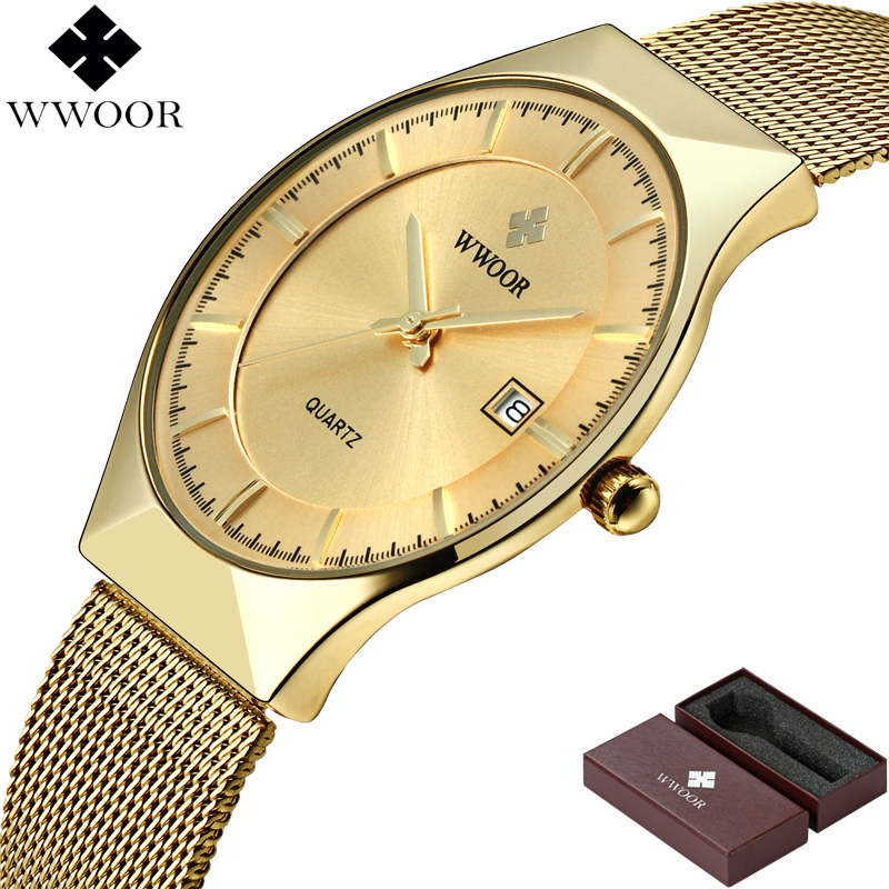 Image 3 - WWOOR Brand Luxury Mens Watches Waterproof Ultra Thin Date Clock Male Steel Mesh Silver Sport Men Quartz Watch relogio masculino-in Quartz Watches from Watches