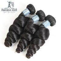 Amanda Cheveux Produits 3 Bundles Malaisie Vierge Cheveux Lâche Vague Bundles Cheveux Pour Salon Naturel Couleur 1b Non Transformés Cheveux