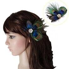 Moda pawie pióro musujące klipsy do włosów dżetów ślubne głowy dziewczyny nakrycia głowy