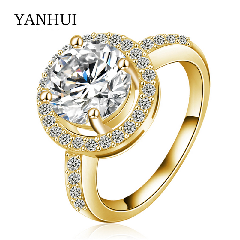yanhui luxury 2 carat simulated diamant engagement rings jewelry pure solid gold color wedding rings for - 2 Carat Wedding Ring