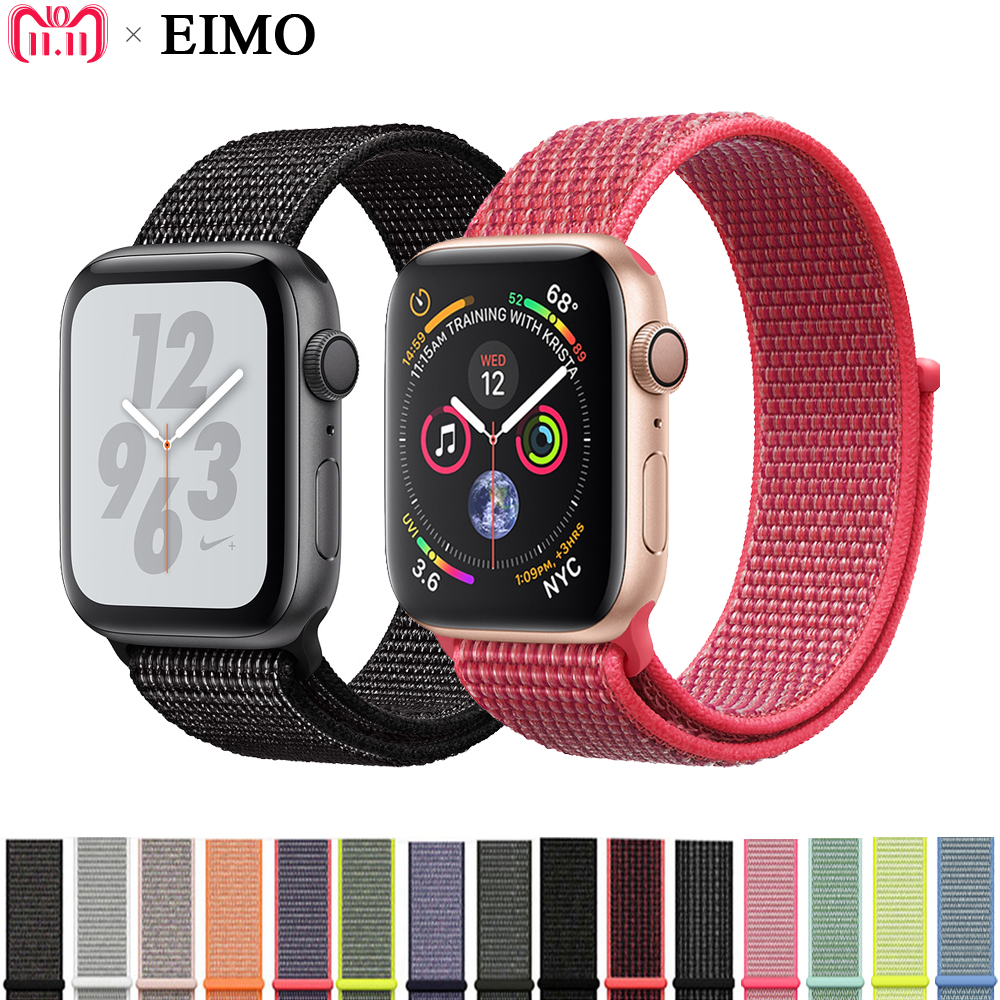 EIMO Sport Schleife Band für Apple Uhr serie 4 44mm 40mm iwatch 4/3/2 42mm 38mm Nylon Strap Armband Handgelenk gürtel Armband correa
