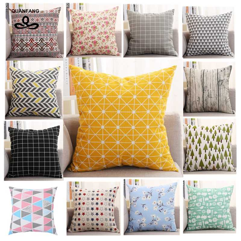 QUANFANG Printed cotton linen Fabric Pillow Case Cover, office rest Case cushion , pillowcases