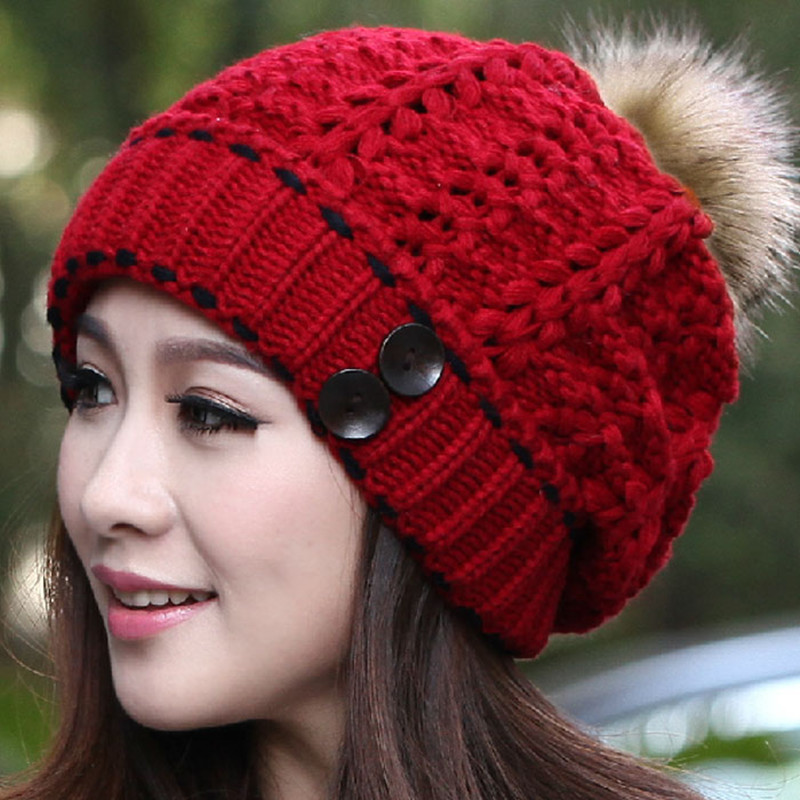 Hat Female Rabbit Fur Ball Pompon Wool Knitted Women's Hip Hop Warm Casual Women Winter Hats Beanies #CAP6A44 abs chrome front grille around trim racing grills trim for kia cerato k3 2013