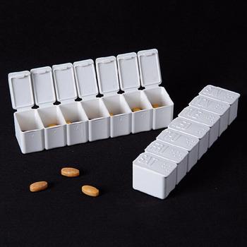 7 dni pojemnik na leki pudełko do przechowywania uznanie Tablet plastikowy tygodniowe lekarstwa przypadkach w alfabecie braille #8217 a tanie i dobre opinie HNKMP Plastic Pill Case