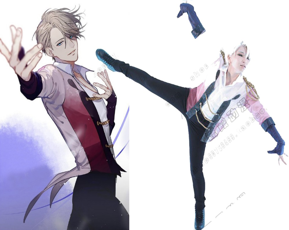 Hot Anime YURI ON ICE Victor Nikiforov Uniform Full set cosplay costume figure skating Uniform Customize Any sizes free shipp