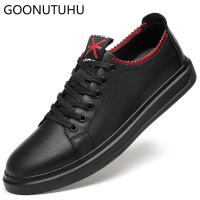 2019 new fashion Men's Vulcanize Shoes casual genuine leather cow classic black white shoe man platform shoes for men size 38 45