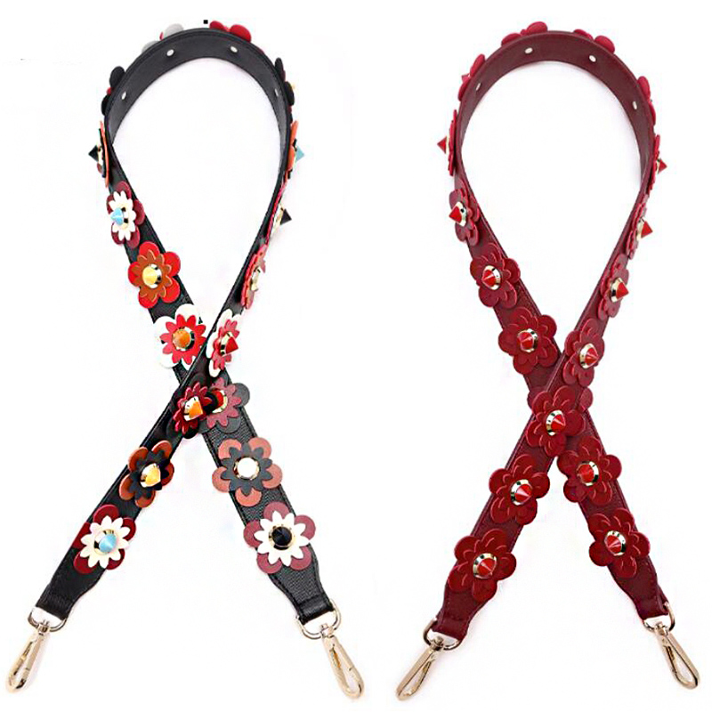 Women Bag Strap Flowers Strap Belt PU Leather Shoulder Cross Body Messenger Bag Band For Bag DIY Handmade Accessories KZ151306