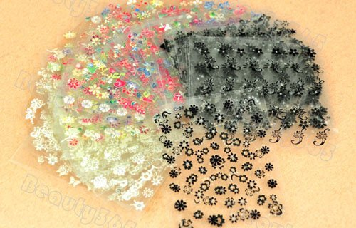 30 Sheet x 3D Design Tip Nail Art Sticker Decal Manicure Mix Color Flower Free Shipping