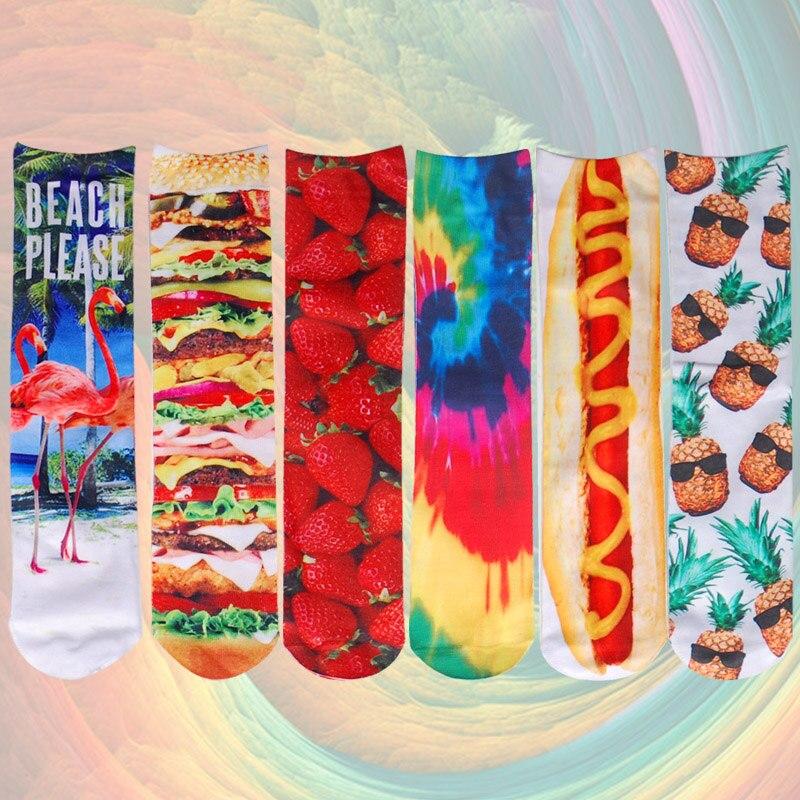 Cute   Socks   Both Sides 3d Print Hot Dog Strawberry Flamingo Hamburger Pizza Patterns Fashion Funny Art Long Women Cotton   Socks