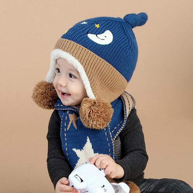 c51bc3e7 Baby Knit Cap Scarf A Set Winter Warm Hat For Children Beanie Kid Moon  5Pointed Stars Cute Scarves With Pompom Ear Protection