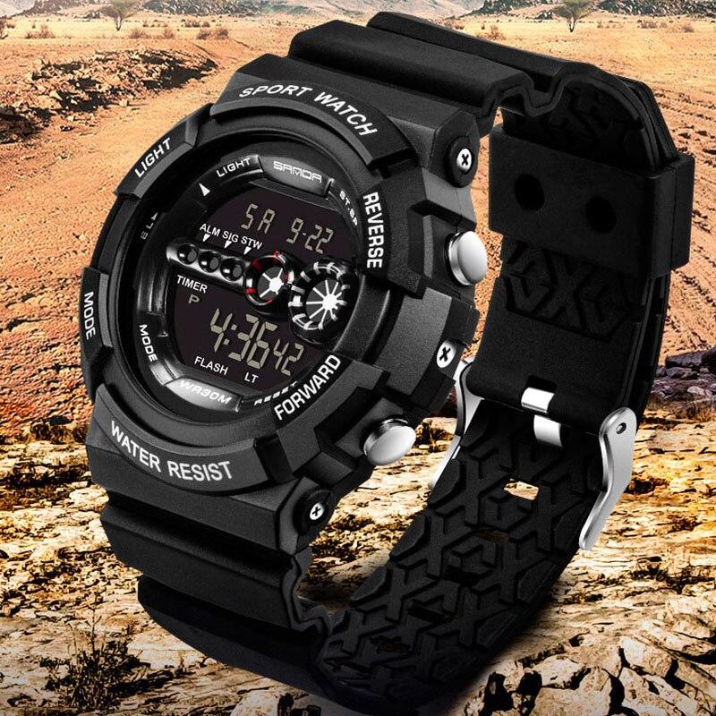 SANDA 320 Sport Digital Watch Men Fashion Waterproof Famous Led Electronic Military Wrist Watch For Men gold Relogio Masculino fashion zinc alloy digital wrist watch w led for men black 1 x 2032 included