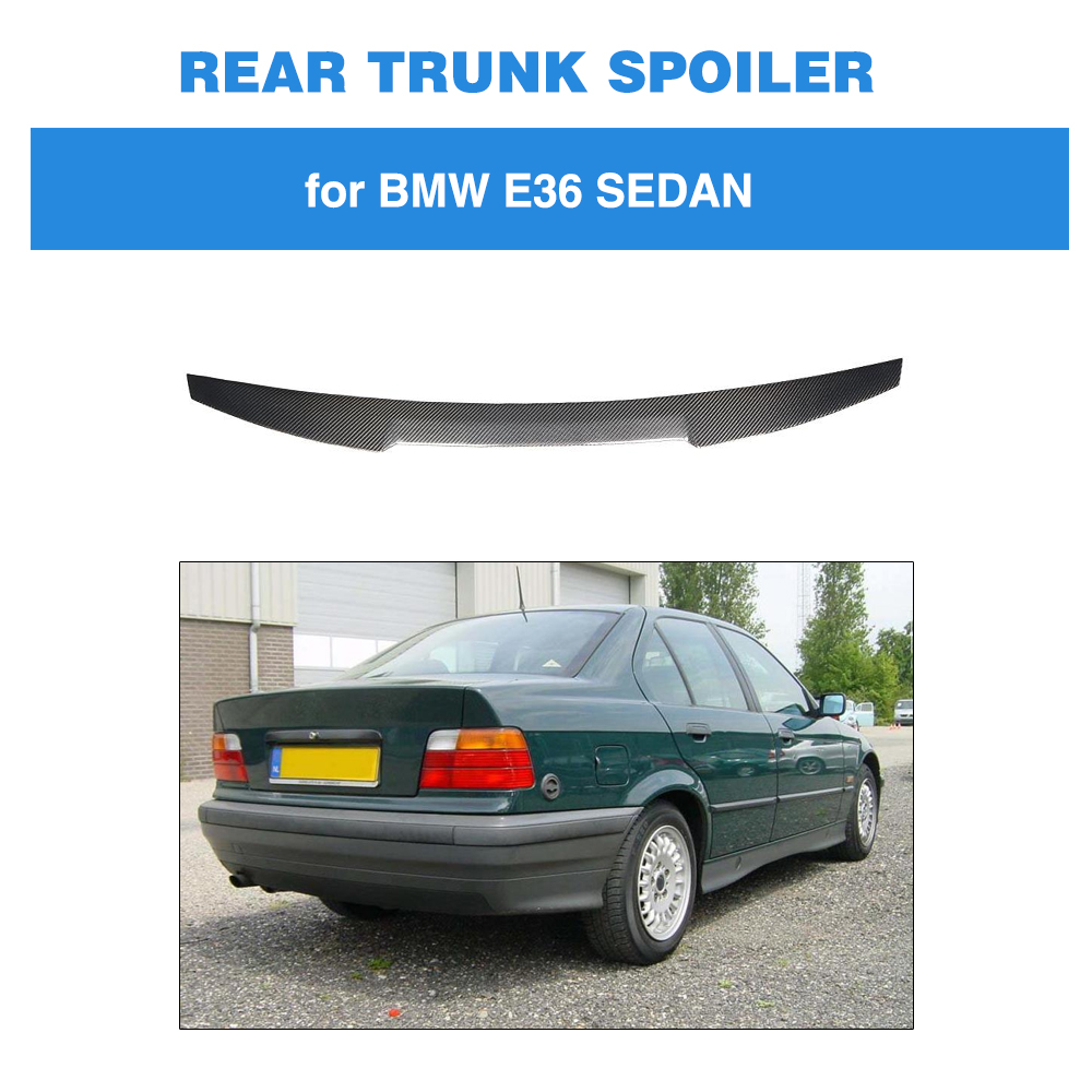 For BMW 3 Series E36 Sedan 1991 - 1998 M4 Style Trunk Lip Spoiler Carbon Fiber Rear Wing Boot LidFor BMW 3 Series E36 Sedan 1991 - 1998 M4 Style Trunk Lip Spoiler Carbon Fiber Rear Wing Boot Lid