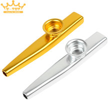 Musical Instrument Metal Kazoo with Flute Diaphragm 2 Colors Optional