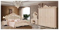 modern european solid wood bed Fashion Carved leather french bedroom set furniture king size HC00109