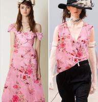 Wholesale Pink Inkjet Tulle Silk Fabric Dresses Print Satin Floral Process Tweed Cheap Fabrics Tecido Stripe
