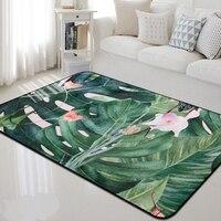 Tropical Green Plants Thick Carpet Rug Nordic Style Carpet For Living Room Bedroom Decor Rectangular Sofa Room Kids Floor Mats
