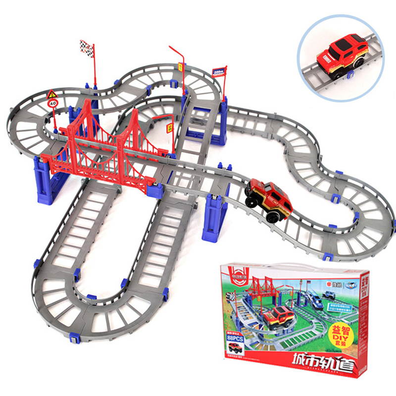 Children Educational Toys Slot Car Electric Track Racing Stitching Flexible Flex Rail Cars Toys For Kids Children Gift