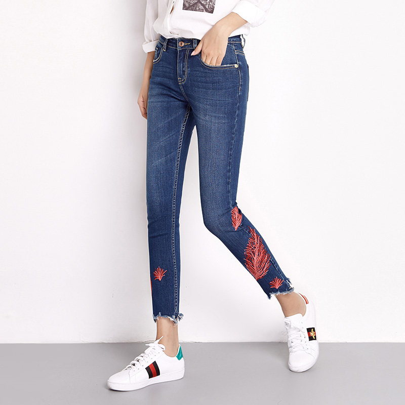 New Women Plus Size Denim Jeans 2017 Elastic Irregular floral Embroidery Jeans Woman Skinny Jeans Pencil Pants Female Leggings