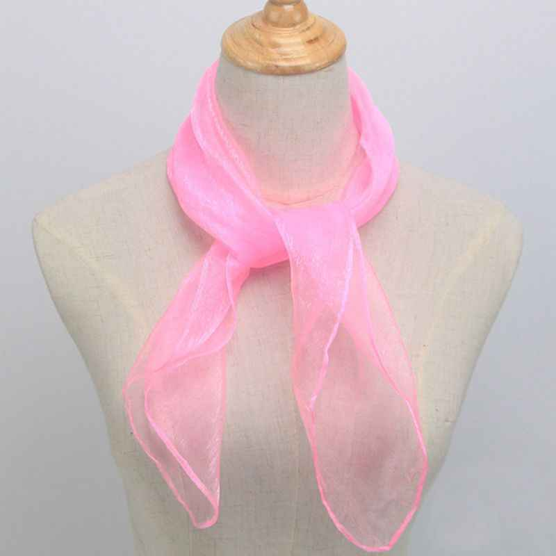 60x60 CM Unisex Sailor Glitter sedoso cuello cuadrado bufanda Color caramelo señora cinta pañuelo danza pura tul cabeza de 12 Colores