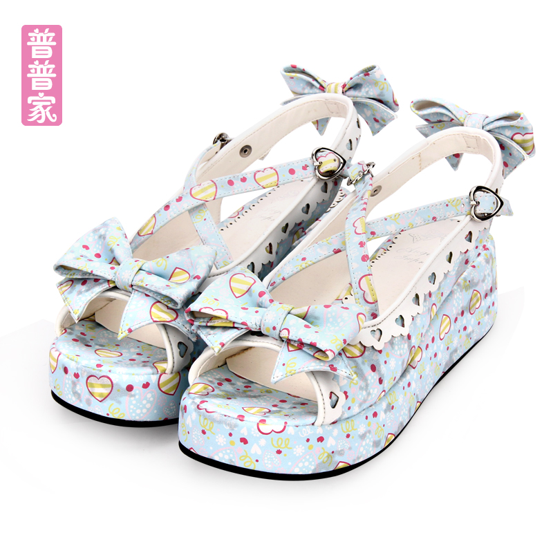 Princess sweet lolita shoes Summer fashion sweet Lolita tea shoes original butterfly knot love pattern muffin sandals pu8380 ботильоны sweet shoes
