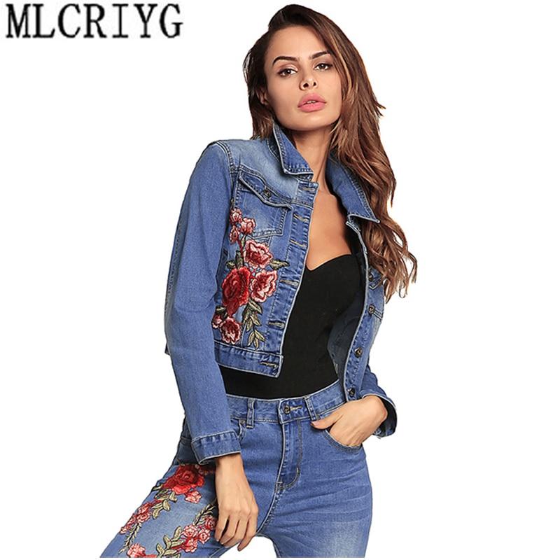 new 2019 spring womens denim jacket short vintage embroidery parka veste en jean femme manche