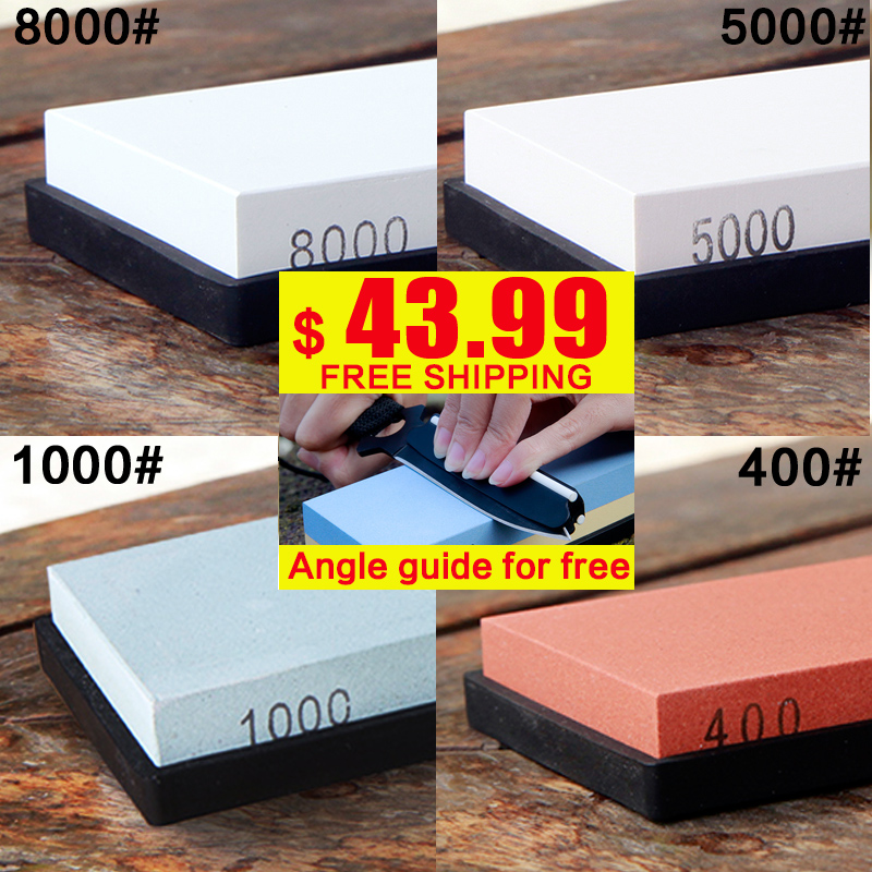 OUSSIRRO 4pcs set whetstone 400 1000 5000 8000 grit professional knife <font><b>sharpener</b></font> sharpening stone knife stone <font><b>angle</b></font> guide free