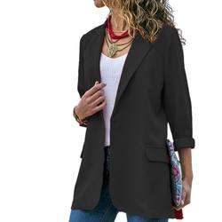OL длинный рукав блейзеры женский осенний костюм Повседневная открытая передняя куртка офисный костюм Модная элегантная женская верхняя