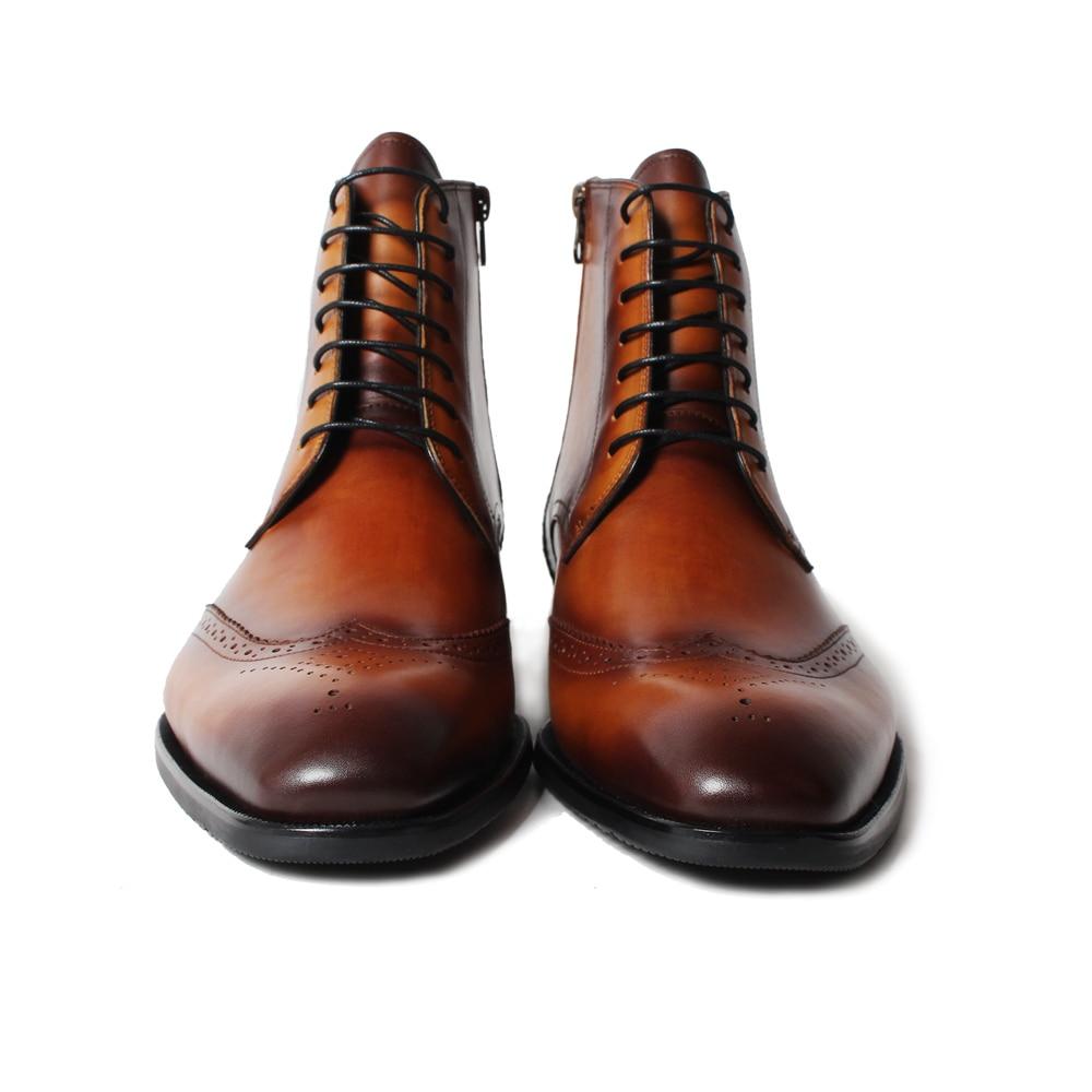 Sotaque Dedo Homens Mão À Ankle Liso Genuína Quadrado Boots Brown Vaca Dos Do Feito Mans De Calçado Vintage Pé Cheio Botas Couro Pátina Vikeduo Marrom dwO1qCC