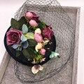 Урожай Розовый Кружевной Свадебные Шляпы Девушки С Большим Бантом Шапки И Повязки Цветы Nupcial Сомбреро Вечерние Партийные Шляпы для Женщин