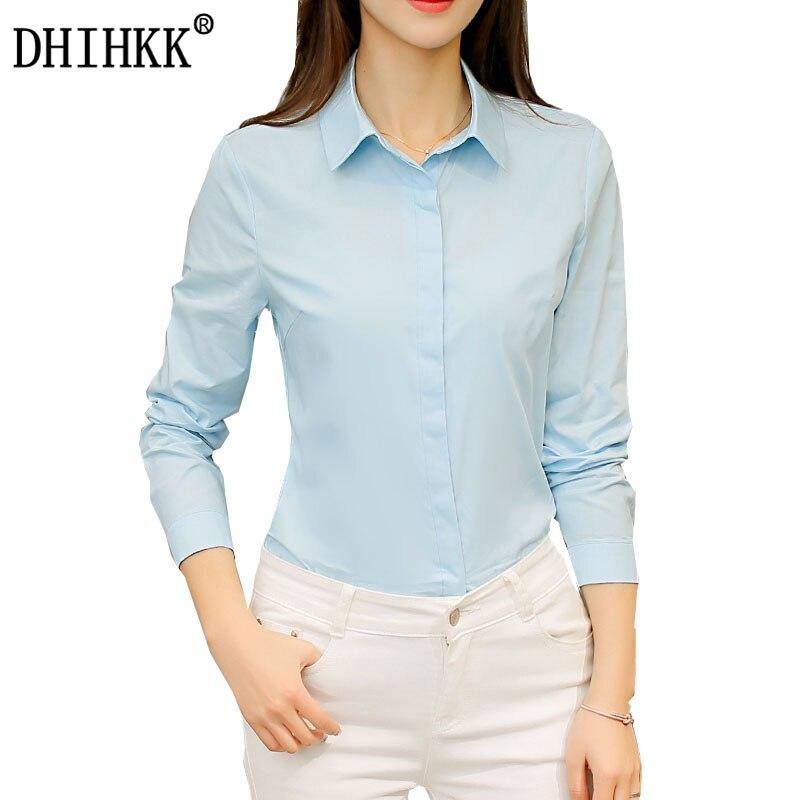 DHIHKK Official Store DHIHKK 2017 Women Blouses Long Sleeve Chemise Femme Cotton Blouse Formal Office Lady Shirts Blusas Turn-down Collar Plus Size