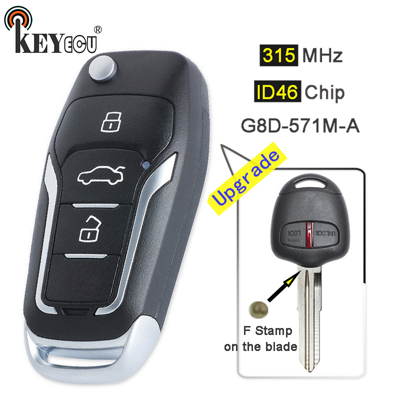 KEYECU 315MHz ID46 G8D 571M A Upgraded Flip 2 Button Remote Key Fob for Mitsubishi F Stamp On The Blade MIT8 Left Blade