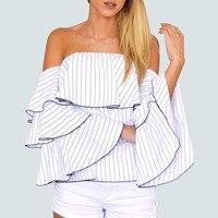Off Shoulder Striped Chiffon Blouse Shirt Women 2017 Summer Ruffles Tops Blouse Female Blusas Femininas Chemise