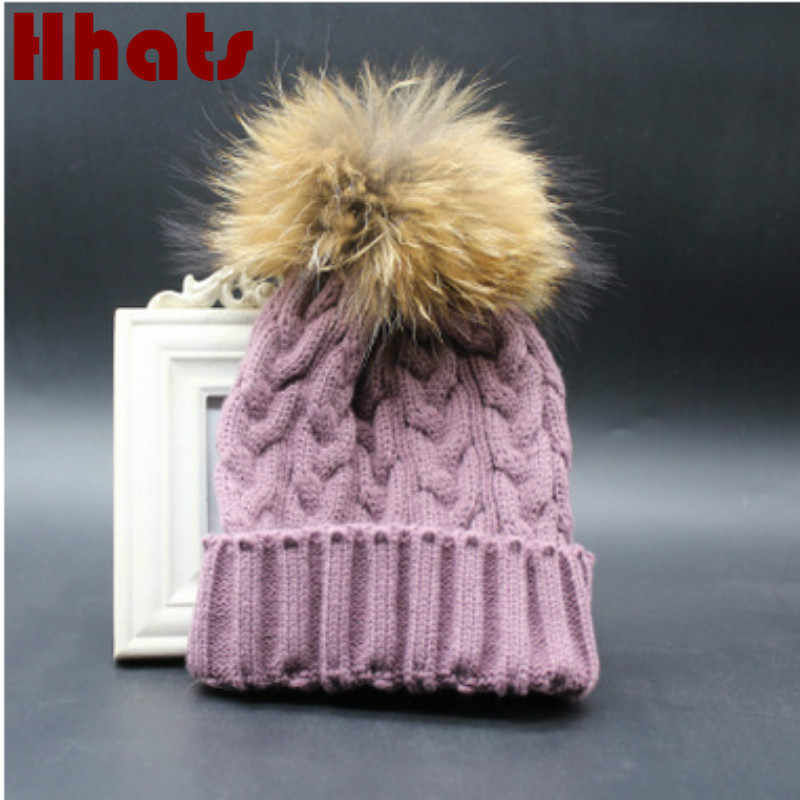 329ef10eb93 Which in shower adult women cable knitted hat with real raccoon fur pompom  top female thick warm ear flap winter fur hat bonnet