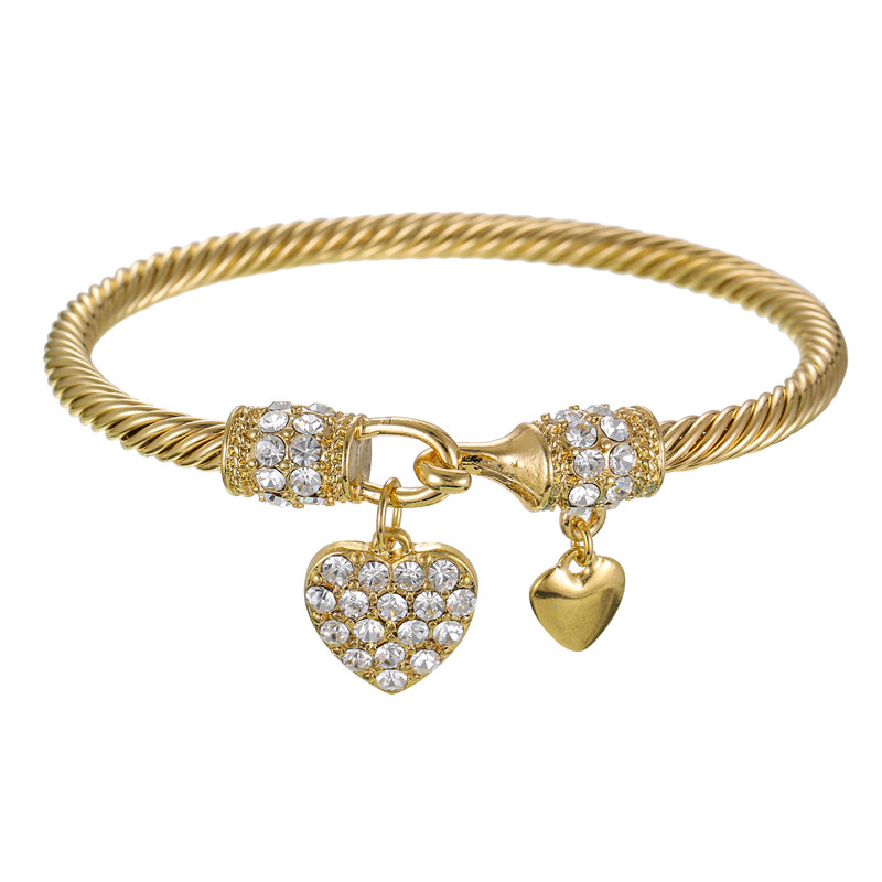 Fashion Bracelet Multi Twisted Cable Wire Bangle High Quality Stainless Steel Golor Silver Crystal Heart Charm Cuff Bracelet in Charm Bracelets from Jewelry Accessories