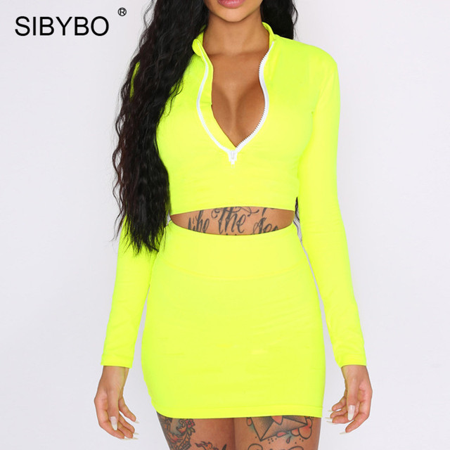 b384eb5ab3 Sibybo Autumn Long Sleeve Sexy Two Piece Set Dress Women Turtleneck Zipper  Mini Bodycon Dress Streetwear Casual Dress Woman 2018