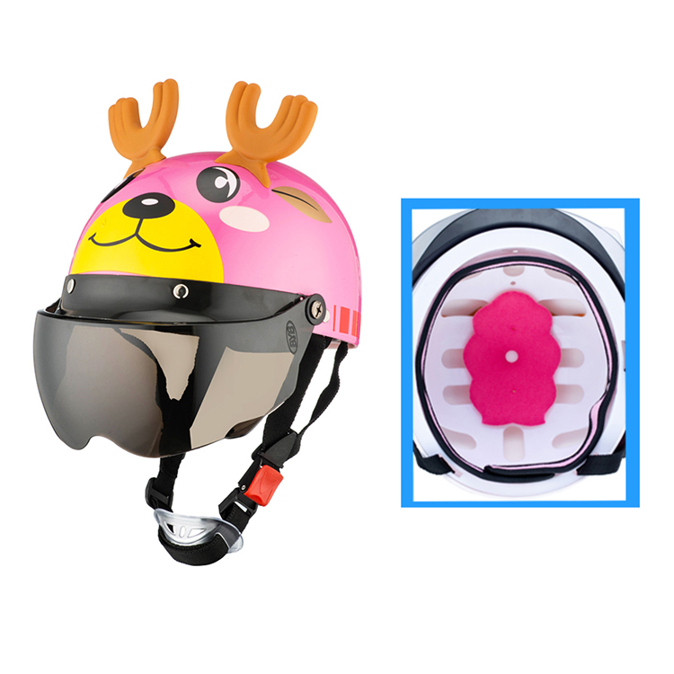 Image 2 - Electric Vehicle Sccoter Kids Half Helmet Children Safety Boy Girl Cartoon Motorcycle Helmet with Goggle Visors for 3 10 years-in Helmets from Automobiles & Motorcycles
