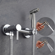 Brass Nickel Toilet Spray Cold Mixer Valve with Hose Handheld Portable Free Shipping Solid Bidet sprayer shower hot and cold free shipping solid brass matte black bathroom handheld shower head with hose and bracket holder with shower valve kit is995