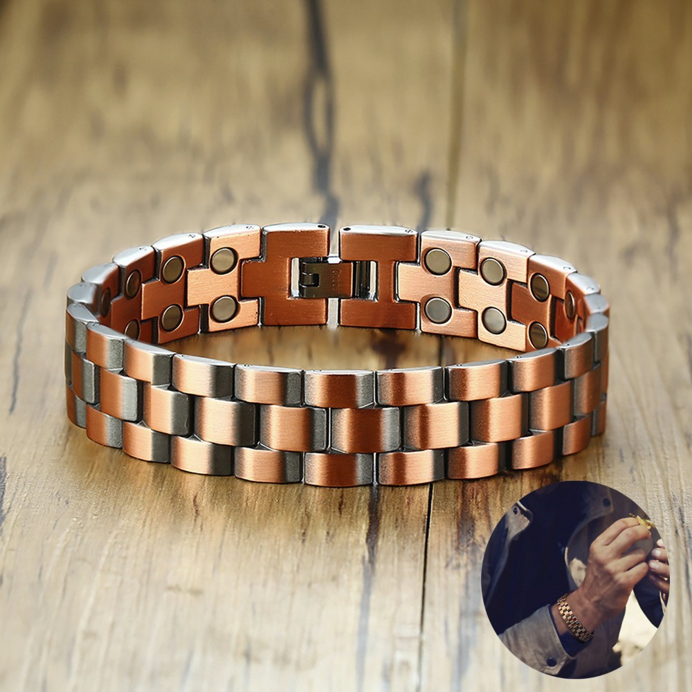 Stylish Mens Copper Double Row Magnetic Therapy Bracelets for Arthritis Wristband Adjustable with Fold Over Clasp Ideal Gift BioStylish Mens Copper Double Row Magnetic Therapy Bracelets for Arthritis Wristband Adjustable with Fold Over Clasp Ideal Gift Bio
