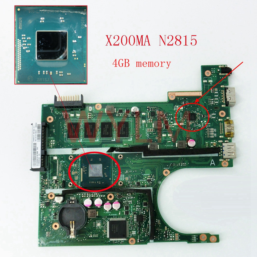 X200MA With N2815 CPU 4GB memory mainboard For ASUS X200 X200M X200MA laptop motherboard free shipping for asus motherboard f200ma f200m x200m x200ma rev2 1 mainboard with n3540u 4g memory test 100