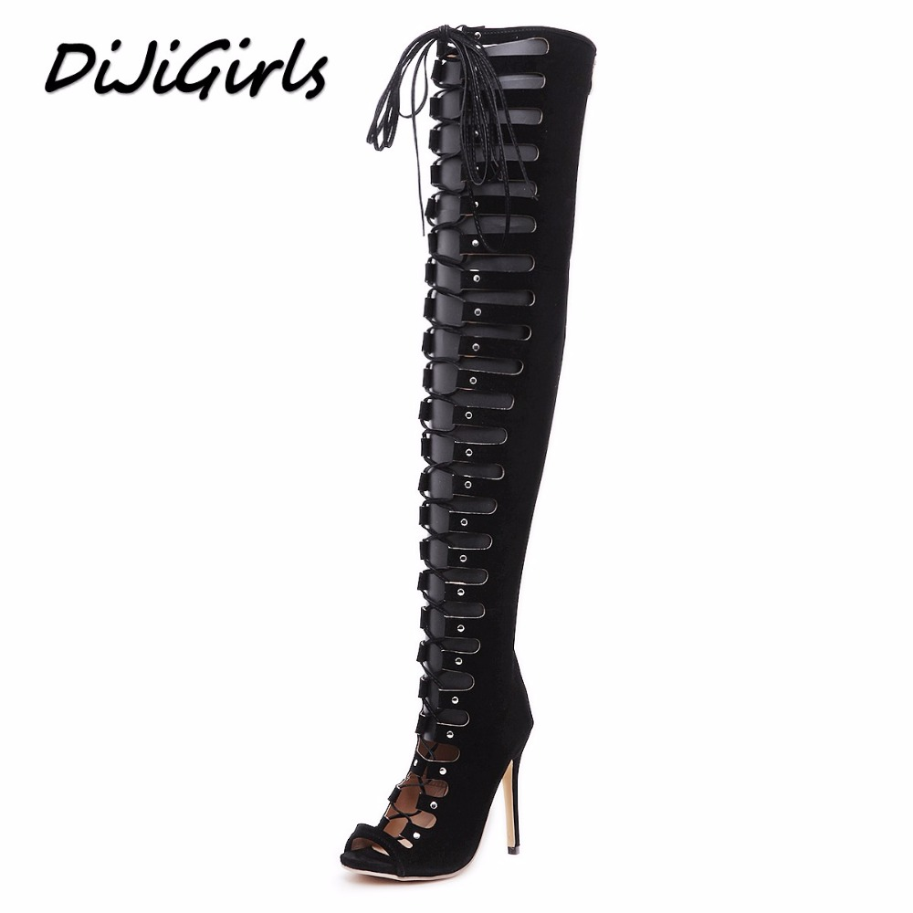 DiJiGirls women over the knee gladiator sandals boots high heels shoes woman cross strap ladies stiletto peep toe shoes 35-40 isabel charlotte elvis studded women sandals reviets high heels nubuck leather ankle strap boots gladiator vintage shoes woman