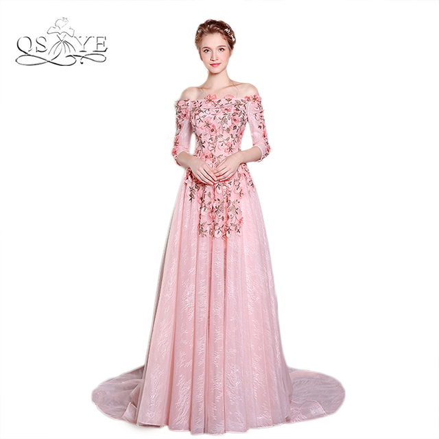 New Pink Vintage Embroidery Lace Prom Dress Long Formal Evening ...