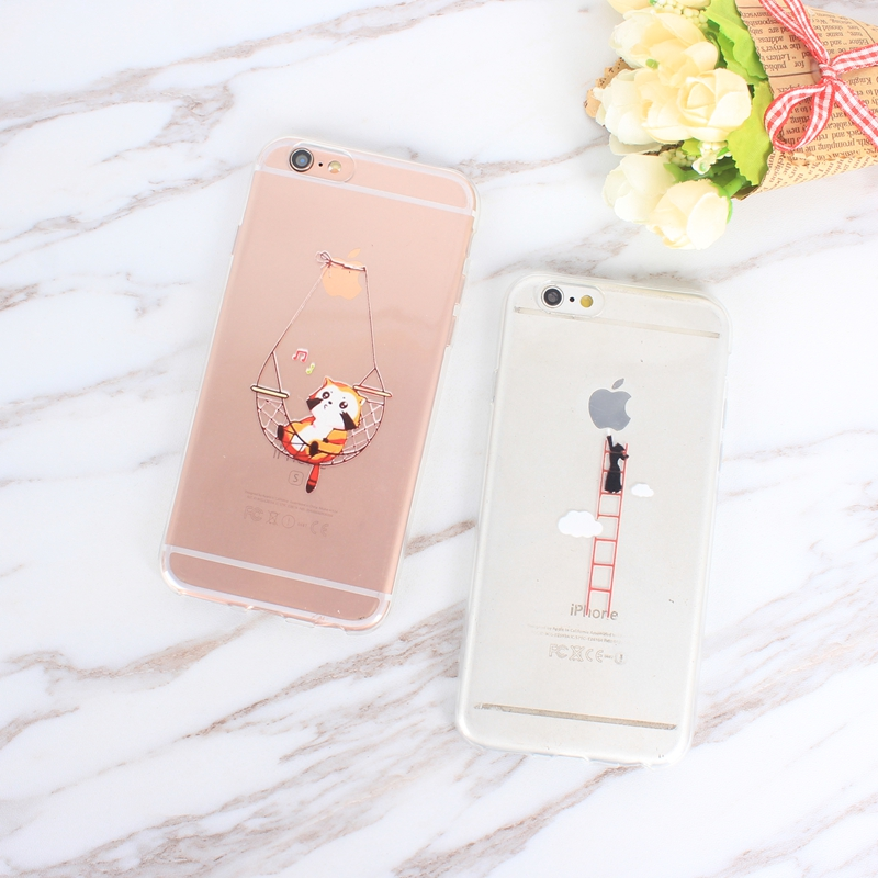 Fashion Back Cute Elephant Penguin Giraffe Bags For iphone 6 s Case Clear TPU Silicone Capa For iphone 6 7 plus 8 plus x Cover